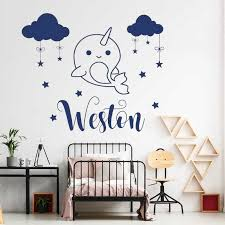 Cartoon Whale Decal Custom Boys Name Wall Sticker Cute Narwhal Vinyl Stickers Personalized Decals Cloud Stars Diy Nursery Lc1670 Aliexpress