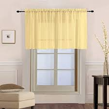 Amazon Com Kmsg Solid Yellow Sheer Short Curtains Valance Tier For Small Window Rod Pocket 2 Panels Sheer Voile Drapes Door Curtain Tulle Window Treatment Sets For Kid S Room Kitchen Cafe W39 X