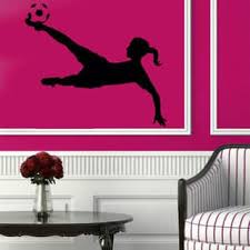 Shop Soccer Wall Decals Girl Football Player Sport Gym Vinyl Sticker Home Decor Art Wall Decor Sticker Decal Size 22x30 Color Black Overstock 14323273