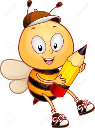 Illustration Of A Bee Carrying A Pencil Stock Photo, Picture And Royalty  Free Image. Image 10192157.