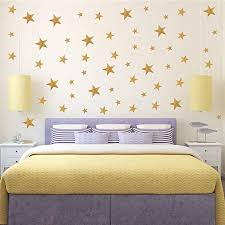 Amazon Com Yokind 117pcs Gold Stars Wall Decal Stars Pattern Diy Wall Stickers For Kids Rooms Home Decor Home Kitchen