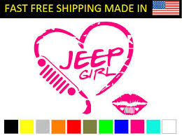 Jeep Girl Lips With Grill Hearts Truck Car Stickers Decal