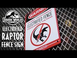 Quick Collectible Review Factory Ent S Jurassic World Electrified Raptor Fence Warning Sign Youtube