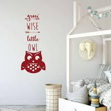 Grow Wise Little Owl Quote For Kids Bedroom Vinyl Decor Wall Decal Customvinyldecor Com