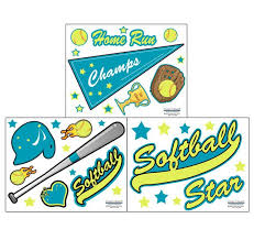 Softball Wall Decals For Decorating Girls Bedroom Walls