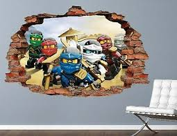 Lego Ninjago Group Kai Cole Zane Wall Decal Smashed 3d Sticker Art Vinyl Ah356