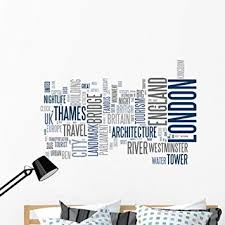Amazon Com Wallmonkeys Abstract Postcard London Wall Decal Peel And Stick Typographic Graphics 48 In W X 37 In H Wm151517 Furniture Decor
