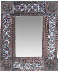 small brown gerona mexican tile mirror