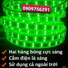 Đèn led dây đôi 2835 10m ống nhựa silicon xanh lá trang trí