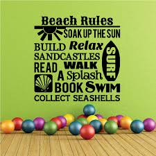 Beach Rules Soak Up The Sun Build Relax Sandcastles Read Walk Surf A Splash Book Swim Collect Seashells Quote Wall Decal Vinyl Decal Car Decal Vd015 36 Inches Walmart Com