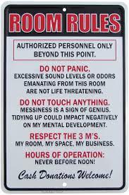 Amazon Com Tg Llc Treasure Gurus Room Rules Hours Of Operation Metal Sign Funny Kids Bedroom Man Cave Decor Home Kitchen