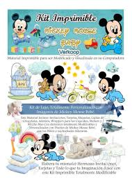 Kit Imprimible Mickey Mouse Bebe Baby Invitaciones Fotos
