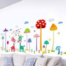Amazon Com Cartoon Mushroom Forest Home Decor Wall Sticker Kids Room Removable Wardrobe Cute Animal Giraffe Flowers Grass Vinyl Decals Black Large Kitchen Dining