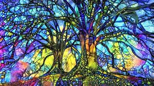 art print stained glass trees abstract