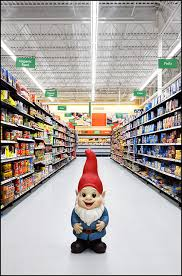 garden gnome standing in the grocery