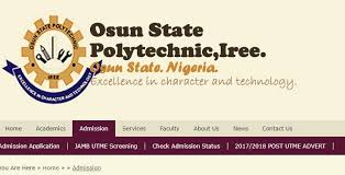 Osun State Polytechnic Iree (OSPOLY) Admission List for 2019/2020 Academic Session | ND Full-Time