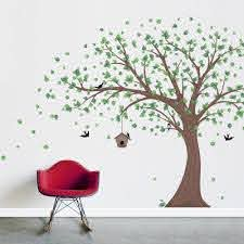 Printed Removable Windy Tree Wall Decal W Birdhouse