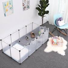 Songmics Pet Exercise Play Pen With Bottom 20 Panels Diy Enclosure Fence Cage For Small Animals Guinea Pigs Hamsters Bunnies Pet Run And Crate Free Adjustable White Lpc02w