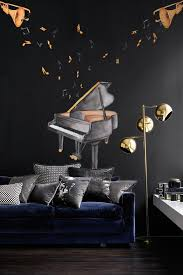 Watercolor Piano And Trumpet With Colorful Music Notes Wall Decal Sticker Wall Decals Wallmur