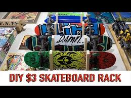 simple 3 diy skateboard rack you
