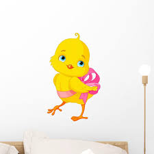 Chick With Bow Wall Decal Wallmonkeys Com