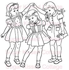 Three Girls Barbie Coloring Pages Vintage Coloring Books