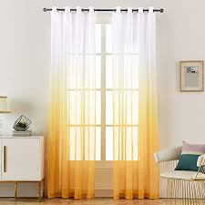 Amazon Com Loyolady Amber Yellow Ombre Sheer Curtains For Bedroom Living Room Sheer Curtains 63 Inch Length 2 Panels 52 W X 63 L Grommet Sheers Curtain For Kids Kitchen Dining