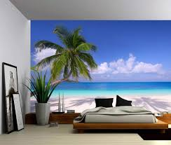 Seascape Palm Beach Summer Tropical Tree Self Adhesive Vinyl Wallpaper Peel Stick Fabric Wall Decal Picture Sensations