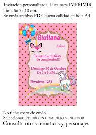 Tarjeta Invitacion Unicornio P Imprimir Imprimible Digital