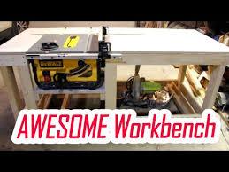138 Easy Diy Workbench With Dewalt Table Saw Dwe7480 Insert Part 1 Juro Workshop Youtube Table Saw Station Diy Table Saw Table Saw Workbench