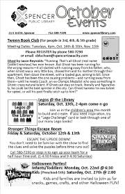 News At Spencer Public Library Book Clubs Legos And Escape Rooms This Month At Your Library