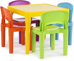 Amazon Com Humble Crew Vibrant Kids Plastic Table And 4 Chairs Set Furniture Decor