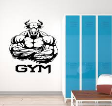 Vinyl Wall Decal Home Gym Logo Bull Muscles Bodybuilder Stickers 3189 Wallstickers4you