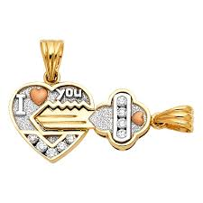 14k 3c cz heart key pendant set