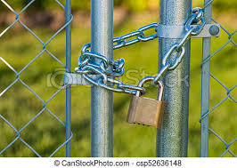 Chain And Lock On A Chainlink Fence A Chain And Lock On A Chain Link Fence