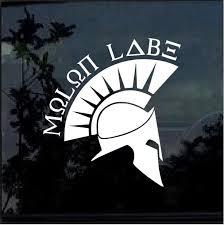 Spartan Molon Labe Window Decal Sticker 3 Custom Sticker Shop