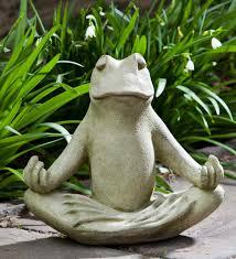 cast stone zen frog garden statue