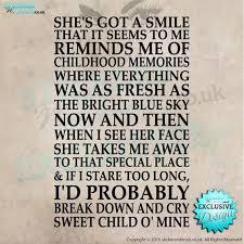 Guns N Roses Sweet Child Of Mine Lyrics Vinyl Wall Art Wall Etsy