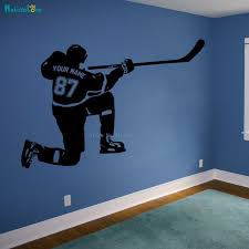 Super Promo C0ed Cutom Hockey Wall Decal Personalized Name And Number Sport Player Batting Posture Cool Vinyl Stickers Home Decor Boy Room Yt997 Cicig Co
