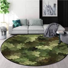 Amazon Com Camo Round Kids Rugs Frosted Glass Effect Hexagonal Abstract Being Invisible Woodland Print Learning Carpet Non Skid Nursery Kids Area Rug For Playroom Round 63 Inch Green Pale Green And Brown Home Kitchen