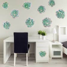 Green Pink Succulent Watercolor Wall Decal Kit By Chromantics