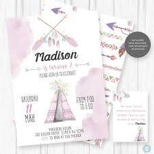 Boho Invitation Birthday Party Invitation Teepee Birthday