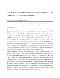 PDF) How do Terrorism and Tourism Co-exist in Turbulent Times?