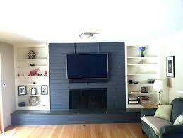 gray dark gray painted brick fireplace