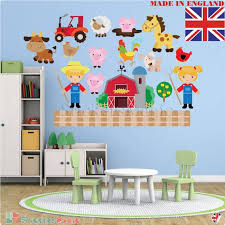 Farm Animal Wall Decal Kid Wall Decal Nursery Wall Stickers Etsy