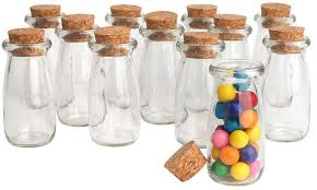 36 x mini vintage glass milk bottles