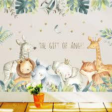 Kid Wall Sticker Rhinoceros Tiger Bedroom Living Room Removable Stickers Creative Stickers Kalaungahasat723