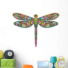 Amazon Com Wallmonkeys Psychedelic Colorful Dragonfly Wall Decal Peel And Stick Decals For Girls 48 In W X 39 In H Wm38429 Furniture Decor