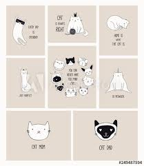 set of cards cute monochrome doodles of different cats