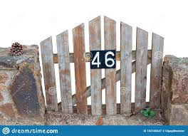 Closeup Of A Small Weathered Wooden Garden Gate With The Number 46 On It Isolated On A White Background Wooden Fence Design Editorial Photography Image Of Aged Brown 183188247
